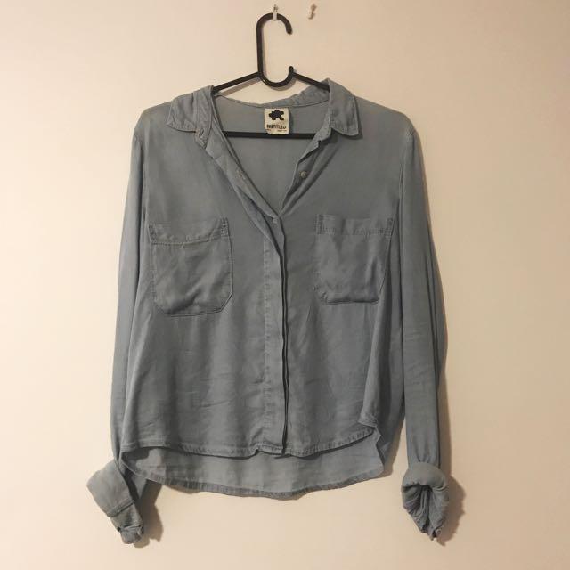 Subtitled Denim Blue Button Up Shirt