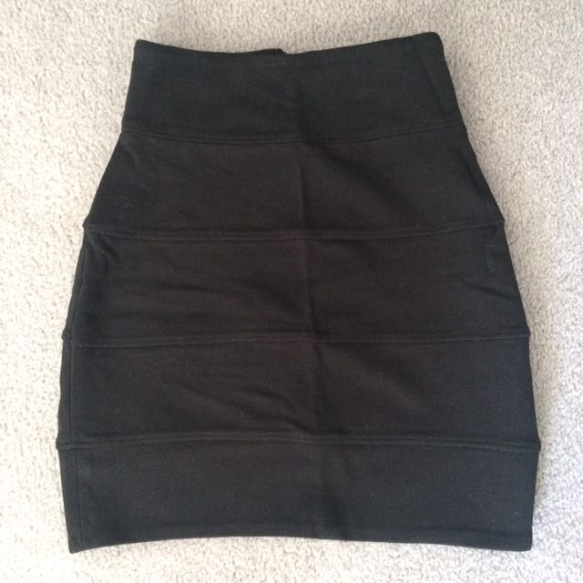 Talula Black Fitted High Waisted Skirt