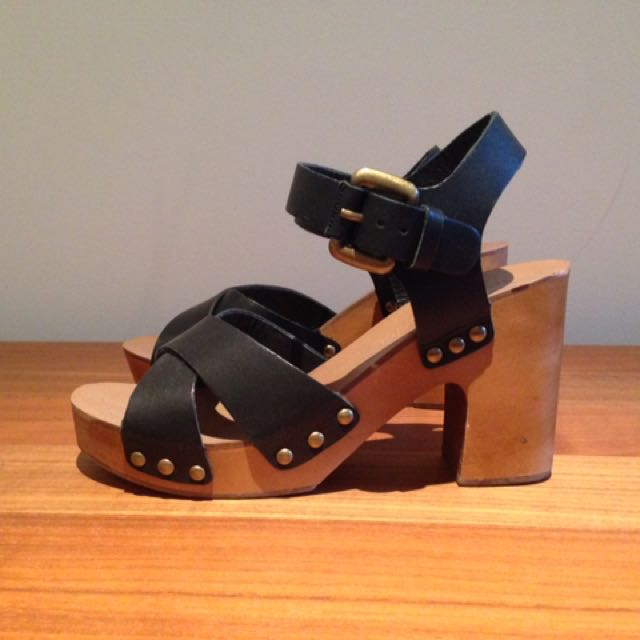 Tony Bianco Black Leather Clogs Sandals