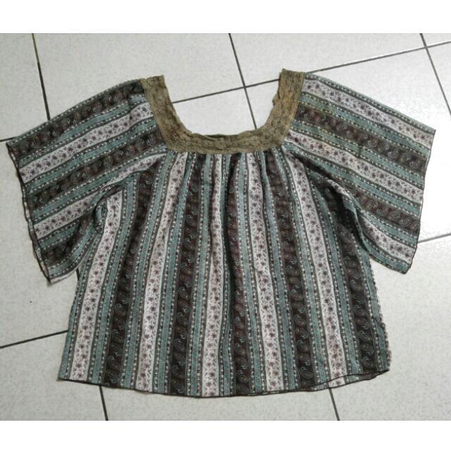 Vintage古著變形蟲方領蕾絲雪紡蝴蝶袖寬鬆上衣