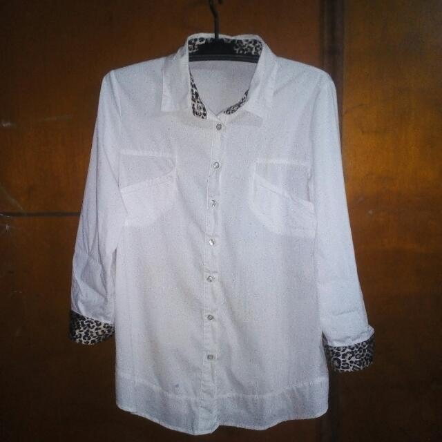 White and Leopard Buttondown Office Top
