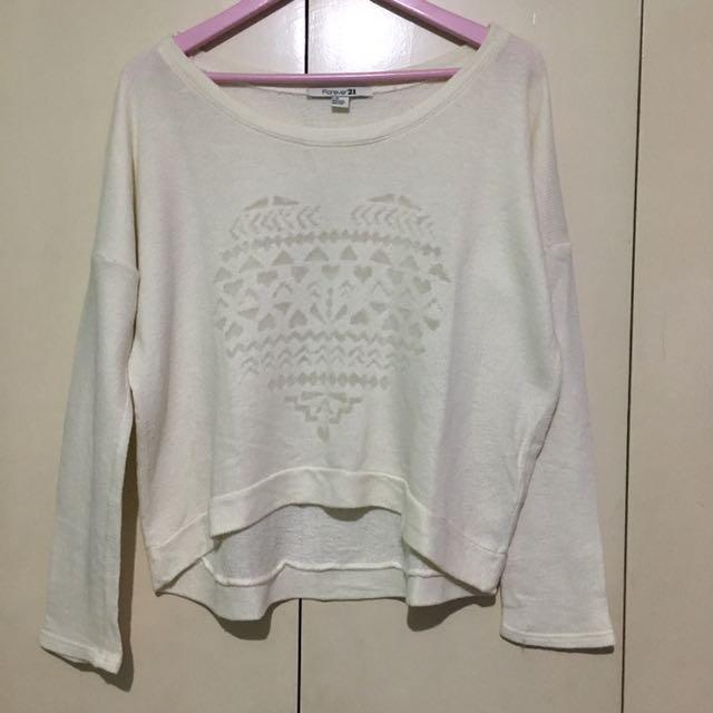 Forever 21 White Heart Sweater
