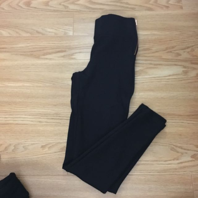 Zippered Detail Black Leggings