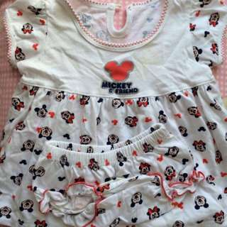 Minnie Mouse Cotton Dress With Matching Panties