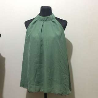 REPRICED!!! Jade Green Sleeveless Sheer Top