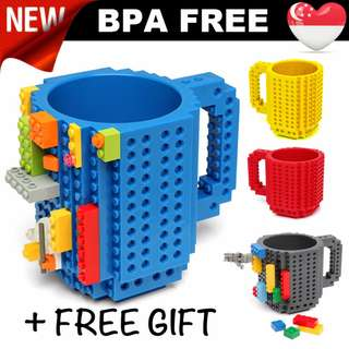 Build-On Brick Mug* BPA FREE* customise your own design * Great for GIFT* brick cup