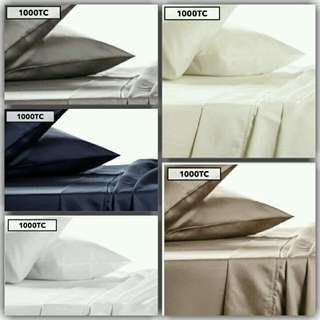 1000TC Luxury Double, Queen & King Cotton Sheet Sets