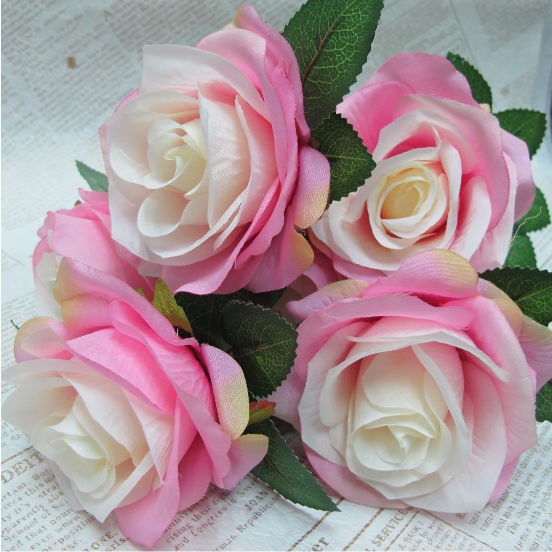 【樂提小舖】01063巴黎玫瑰 7色  人造花 假花 人造玫瑰 婚紗道具 玫瑰花 仿真玫瑰 假玫瑰花 裝飾玫瑰 不死花