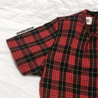 [inst] checkered babydoll dress