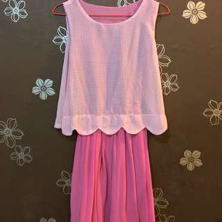PINK CHECKERED DRESS