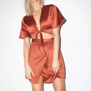 Burnt Orange Wrap Dress