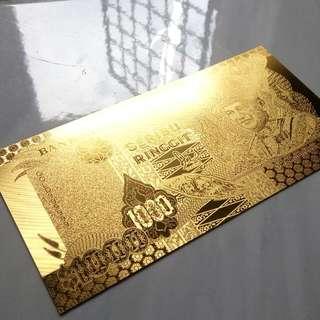 Gold Banknote RM1000 (Replica)