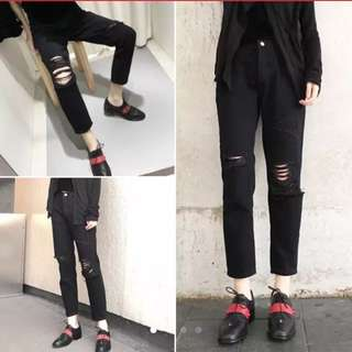 Ulzzang Ripped Black Jeans