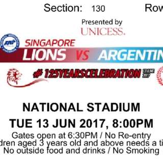 Argentina Vs Singapore Lions Football Friendly Match