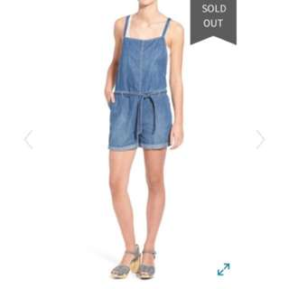 Hinge Denim High Neck Romper Size S