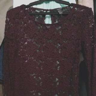 Forever 21 Long Sleeve Lace Blouse - Dark Purple