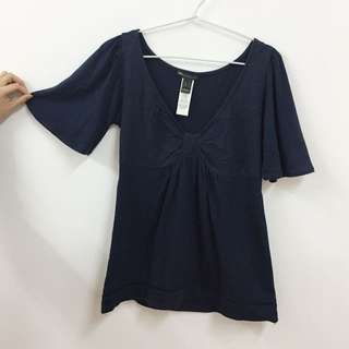 MANGO blue Navy Cotton Top