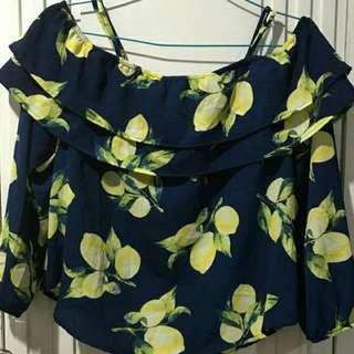 navy lemon sabrina top
