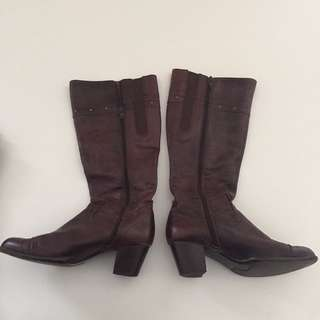 Genuine Brown Leather Boots