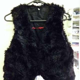 Black Fake Fur Vest