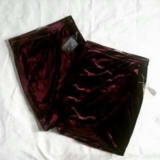 Forever 21 red velvet skirt