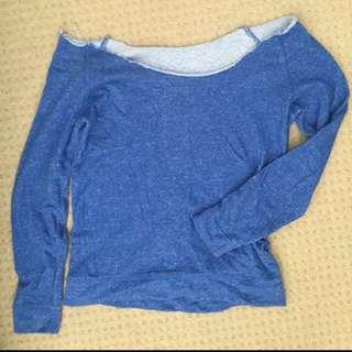 Off The Shoulder Blue Sweater Jumper Fray