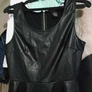 Peplum Black Faux Leather Top