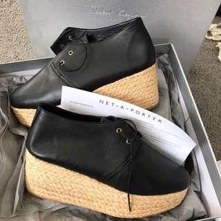 Robert Clergerie Leather And Raffia Platform Brogues