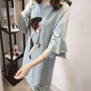 正韓大碼-手工珠片卡通女孩荷葉袖洋裝-淺藍色.2XL