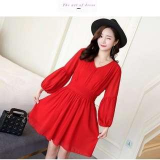 韓時尚-喇叭袖V領雪紡洋裝 2XL -紅色