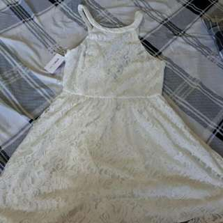 Haltered Low-back White Lace Dress