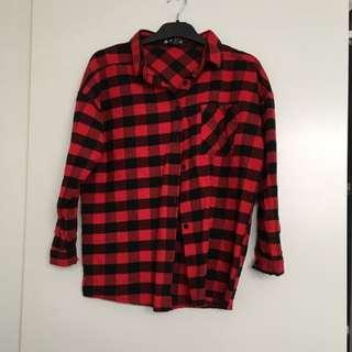 Plaid Red Shirt Size8