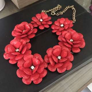 Red Flower Necklace Chanel Lookalike