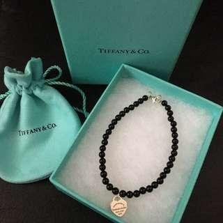 Authentic Return to Tiffany & Co. Onxy Mini Beads Ball & heart