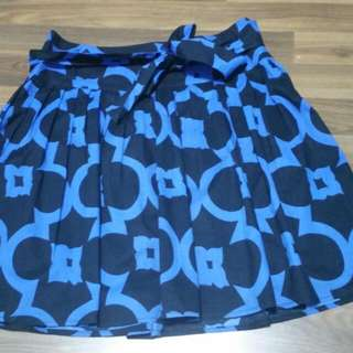 F21 Blue Black Printed Front Tie Skirt