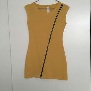 Mustard Dress With Side zip