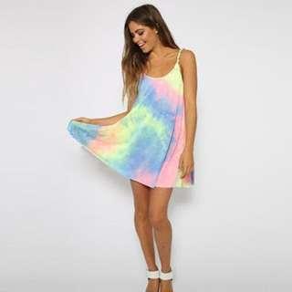 Tie Dye Rainbow Colour Dress XS