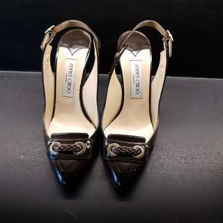 🚚 Authentic Jimmy Choo Leather Brown And Gold pointed toe Slingback Shoes