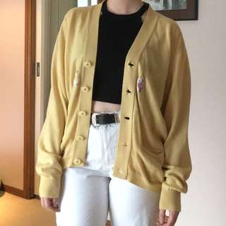 Vintage yellow embroidered cardigan