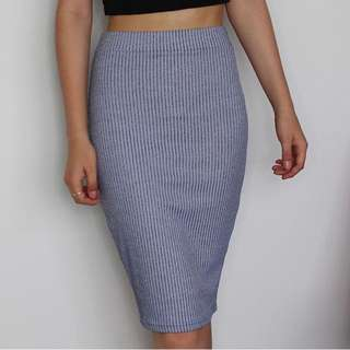 Blue & White Ribbed/Striped Midi Skirt