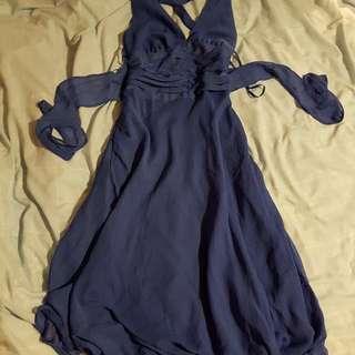Navy Blue Cocktail Formal Dress Open Back Crossroads