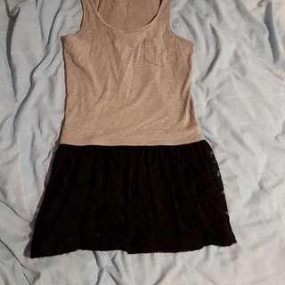 Forever 21 Grey Black Tank Tutu Lace Dress