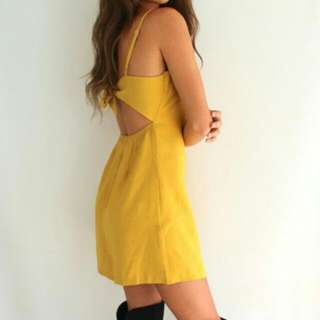 mustard yellow tie back linen dress