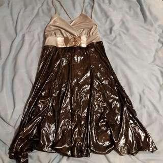 Blockout Cocktail Clubbing Dress Metallic