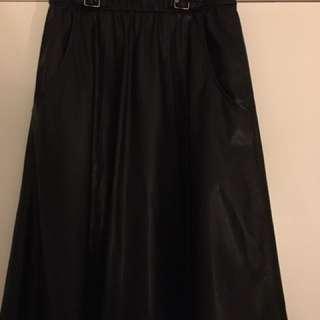 Medium Zara Trafaluc Pleather A-Line Skirt With Elastic Waste