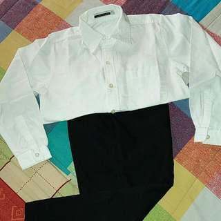 White Long Sleeves Polo And Black Slacks