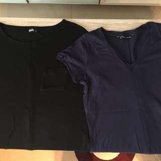 2 Tshirt, Navy, Black, Size Small