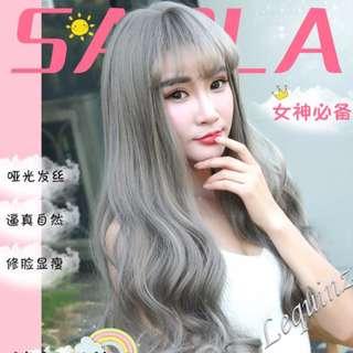 Ash Grey Air Bang Full head Wavy Hair Wig