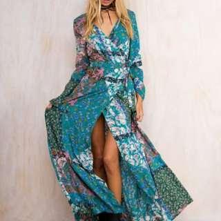 Princess Polly Opal Fern Wrap Dress