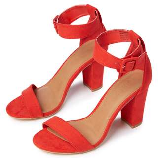 RUBI SHOES San Fran Red Strappy Block Heels Size 36
